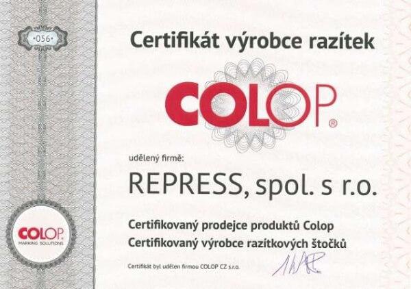 Certifikát kvality COLOP - autorizovaný výrobce razítek || obchodRAZITEK.cz