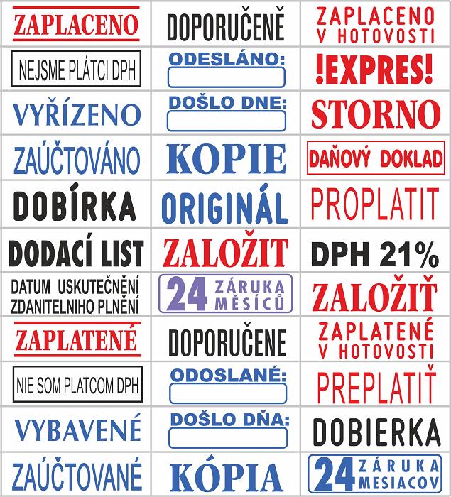 Pečiatky s hotovým textom || obchodPEČIATOK.sk